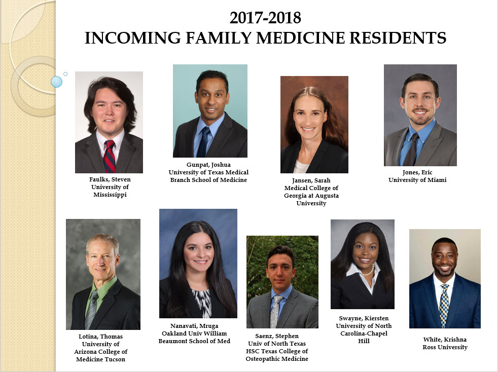 2017-2018 Family Medicine Resident Class