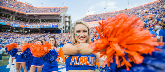 University of Florida Cheerleaders in The Swamp